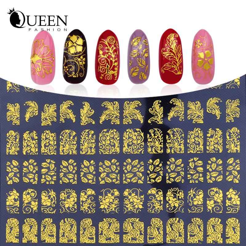 3D Nail Art Stickers Decals,108pcs/sheet Charm Gold Metallic Mix Flowers Designs Nail Tips Decoration,DIY Beauty Nail Art Tools(China (Mainland))