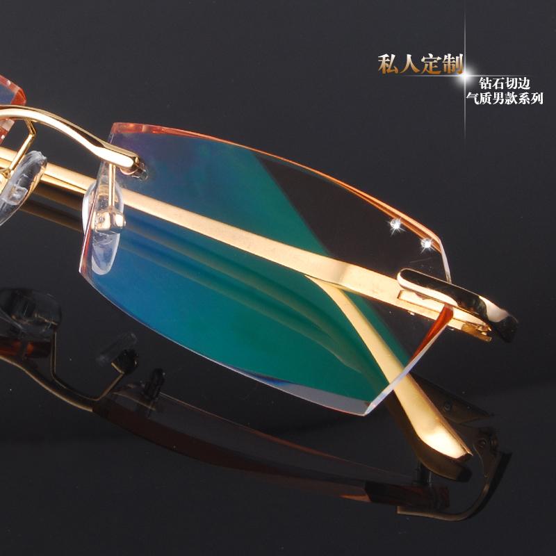 2014 Promotion Special Offer Freeshipping Solid Men Titanium Brand Glasses Diamond Male Eyeglasses Frame Frameless Framework(China (Mainland))