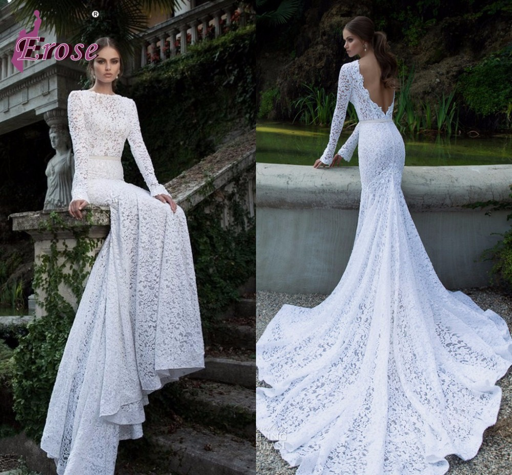 Elegant slim fit mermaid gown white lace long sleeve for Lace sleeve backless wedding dress