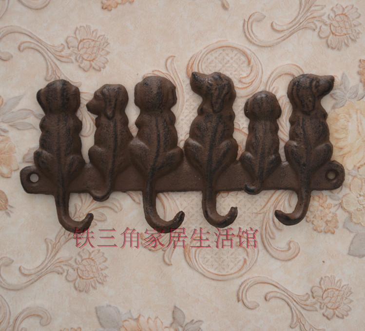 Cast Iron hooks,puppy garden decor,patio ornament,hanging flower pots/broom/clothe/hats,6 dog reliefs(China (Mainland))