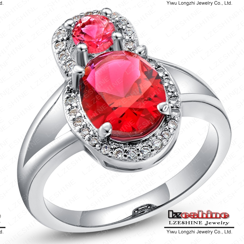 Top Fashion Ruby Ring Real Platinum Plated Red Color Simulated Diamond Finger Rings For Women WX