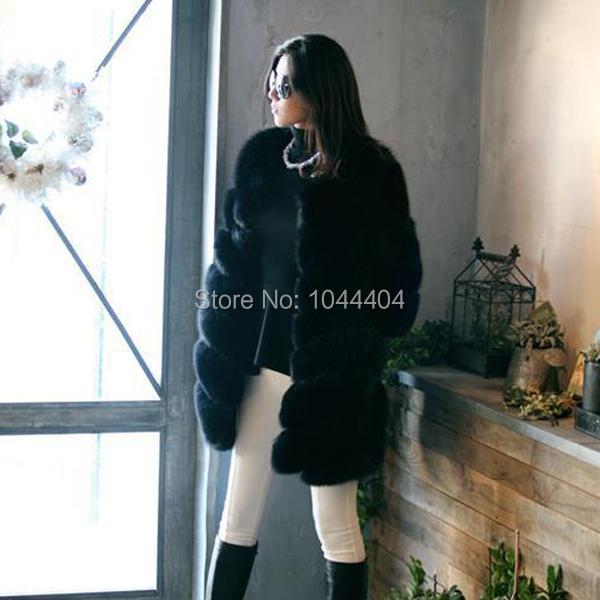 Brand newLuxury Womens Jacket Fox Faux Fur Outwear Long Parka Sleeve Coat UK6-16