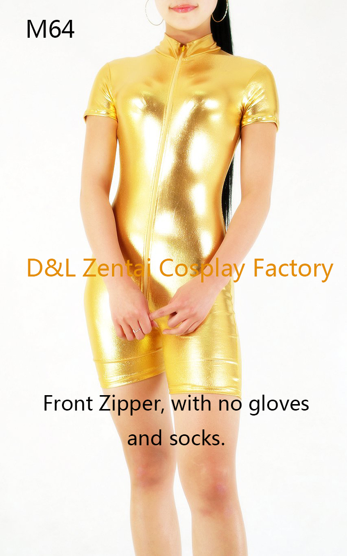 Free Shipping DHL Sexy Fancy Dress Women Unitard Gold Shiny Metallic Spandex Catsuits for Woman with Gloves and Socks