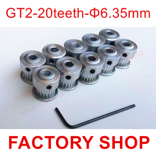 Buy 10 pieces/pack 20 teeth Bore 6.35mm GT2 Timing Pulley fit width 6mm 2GT timing Belt 3D 6.35 mm 20 toothed high for $12.50 in AliExpress store
