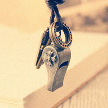 Fashion vintage whistle necklace male Women pendant fashion long design necklace