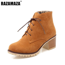 Buy Brand New Women Lace Ankle Boots Woman Round Toe Square Heel Shoes Woman Winter Warm Plush Boot Botas Feminina Size 34-43 for $24.68 in AliExpress store