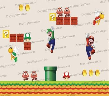 free shipping + wholesale 144*107cm room decorative super mario wall sticker