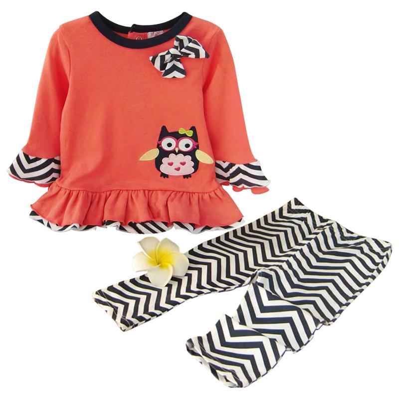 2016 Spring Newborn Baby Girl Cotton Clothing Set Cartoon Bird T-shirt + Leggings Clothes Sets Infant Bebe Menina Wear(China (Mainland))