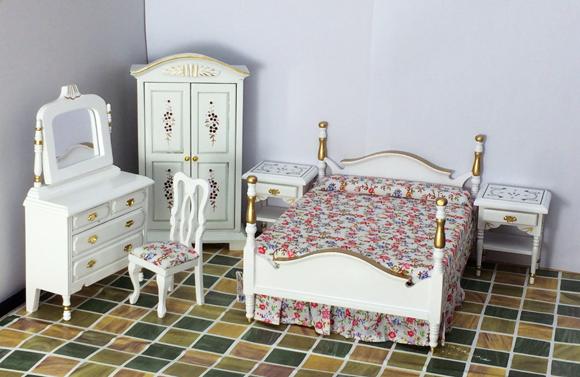 G06-X604 children baby gift Toy 1:12 Dollhouse mini Furniture Miniature rement European-style bedroom set white<br>
