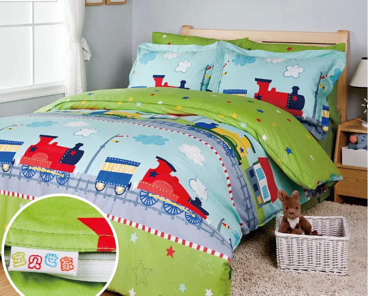 Train bedding sets kids bed bed cover set sheets for bed for Housse pour futon