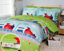 Train bedding sets/kids bed/bed cover set/sheets for bed/boys comforter cover sets/bedspreads/twin bedding(China (Mainland))