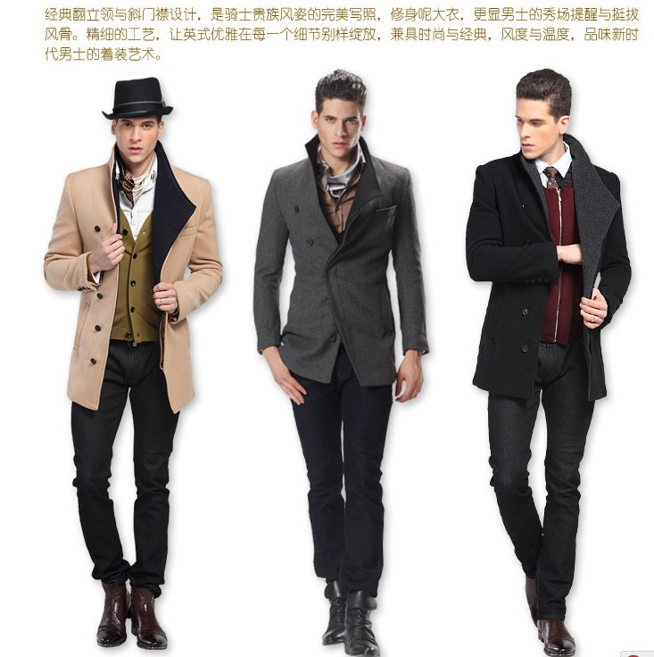 Black grey khaki England trench coat mens wool winter long coat stand collar slim men's clothing autumn casual fashion thin(China (Mainland))