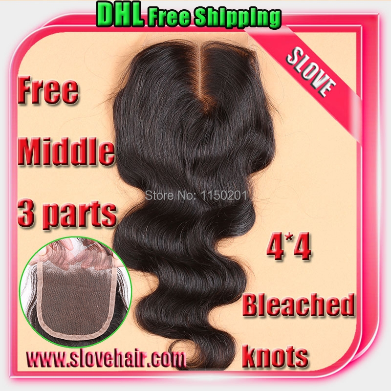 7A Best Virgin Brazilian Closure Body Wave Brazilian Lace Closure Bleached Knots closures Free/2/3Part Virgin Human Hair Closure(China (Mainland))