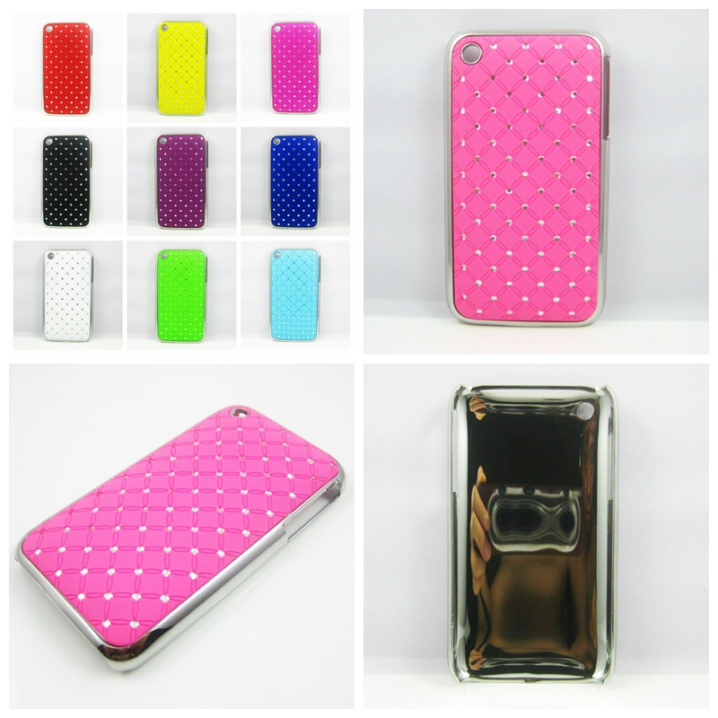 9 Colors Luxury Diamond Bling Stone Hard Phone Case Cover for IPhone 3G 3GS(China (Mainland))