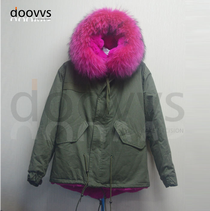 Fashion apparel outerwear fur hood faux parka women, Mrs rose red winter big real collar - foxfurs store