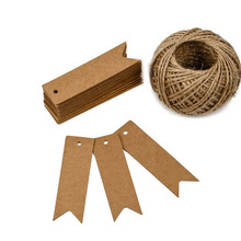 Buy 100Pcs Decorative Blank Brown Craft Paper Party Favor Gift Tags Card Pennant Flag+One Roll Brown Hemp Rope Label Accessories for $6.68 in AliExpress store