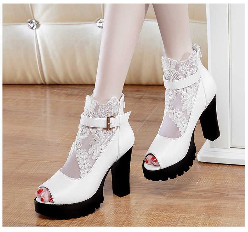 White Ankle Strap Sandal Heels Promotion-Shop for Promotional