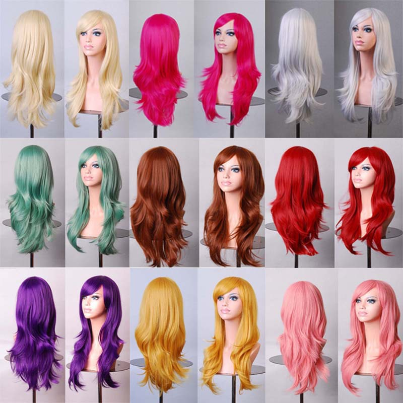 """28""""70cm long curly black red 7colors synthetic hair Anime Cosplay wig,Halloween holiday party womens sex silver white peruca wig(China (Mainland))"""