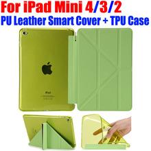 For iPad Mini 4 3 2 Ultrathin PU Leather Case Smart Cover + Soft TPU translucent back case for Apple iPad Mini 4 3 2 IM416(China (Mainland))