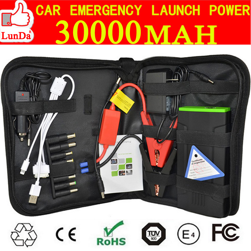 30000MAH Car Jump Starter power bank external charger portable emergency battery for mobile phone&12V diesel auto terminal kit(China (Mainland))
