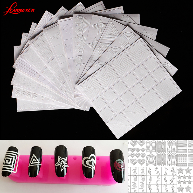 12pc/set Nail Art Tips Hollow Sticker Acryl Crystal Manicure Template 3D Stencil Decals Vorm Styling Tool M02874(China (Mainland))