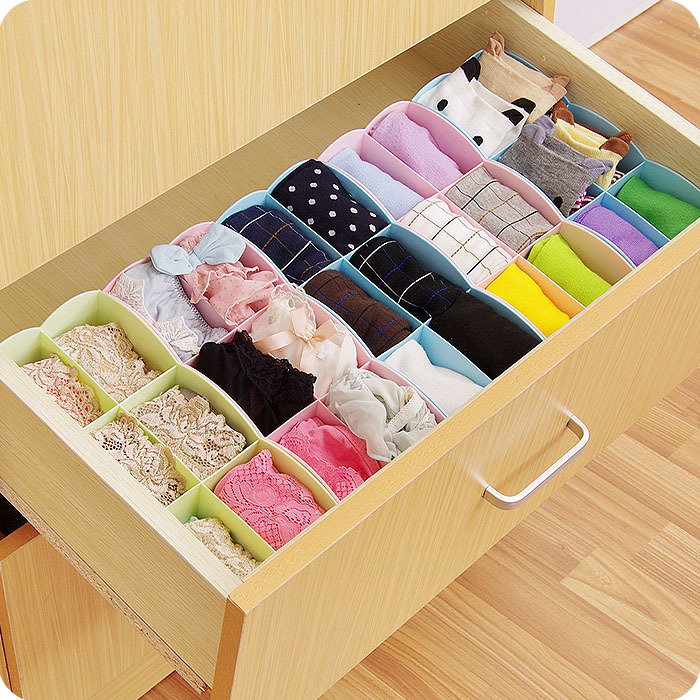 Creative Honey candy colored plastic flowers 6 grid underwear storage box underwear socks storage closet drawer storage box(China (Mainland))