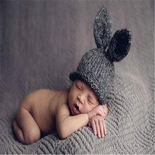 ทารกแรกเกิดการถ่ายภาพ Props ถักหมวกเด็กน่ารักกระต่ายหูหมวกเด็กกระต่ายหมวก Photo Props สำหรับเด็ก(China)