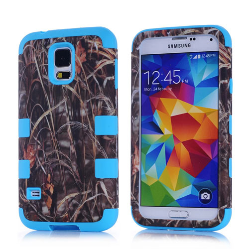 2014 New defender water stick a grass silicone+pc hard cover shockproof case for samsung galaxy s5 back skin(China (Mainland))