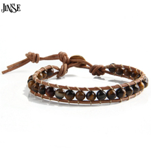 JINSE Leather Bracelet Men Women 1 Layer Natural Stone Bead Bracelets & Bangles Leather Beaded WP Bracelet With RealLeather Cord(China (Mainland))