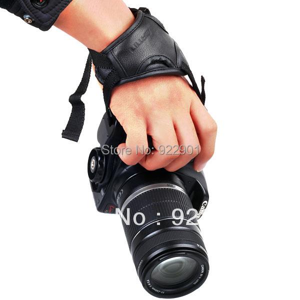 Camera Black Leather Soft Wrist Strap/Hand Grip Canon Nikon Sonyy SLR/DSLR camera - gogobuy digital store