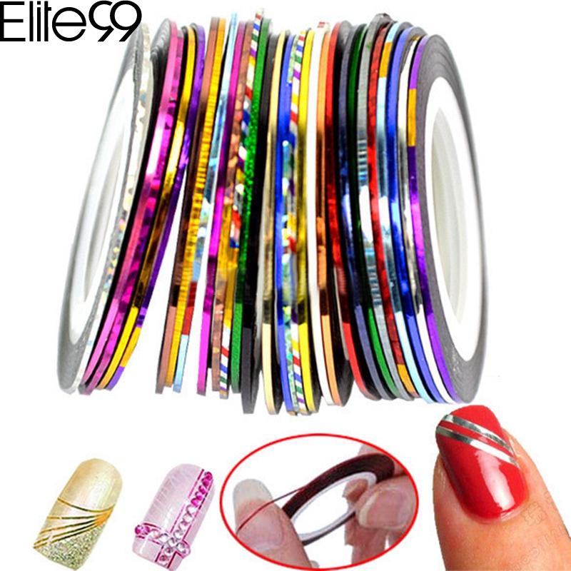 Elite99 Striping Tape Line Nail Art Tips Decoration Sticker Nail 10pcs Mixed Colors Nail Rolls Striping Tape Line DIY For Nail(China (Mainland))