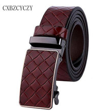 Buy Automatic Buckle Mens Belts Luxury Brand Designer Belts High Genuine Leather Plaid Belts Men Real Cowskin Ceinture for $15.59 in AliExpress store