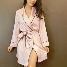 M378 Autumn New arrival robe luxury female sexy faux silk silky satin sleepwear nightgown lounge(China (Mainland))