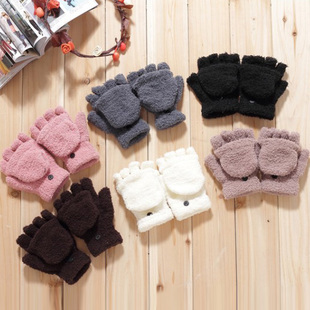 Female Winter Multifunctional Semi-Finger Flip Thermal Gloves Coral Fleece Flip Semi-Finger Keyboard(China (Mainland))