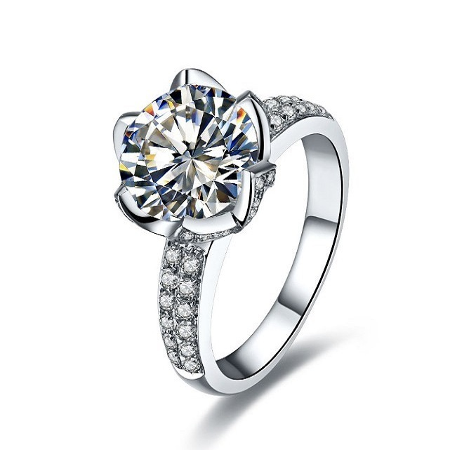 Pretty 1Ct Moissanite Jewelry Band Gold AU750 Ring Solid 18K White Gold Engagement Band Ring Synthetic Diamond 18K White Gold(China (Mainland))