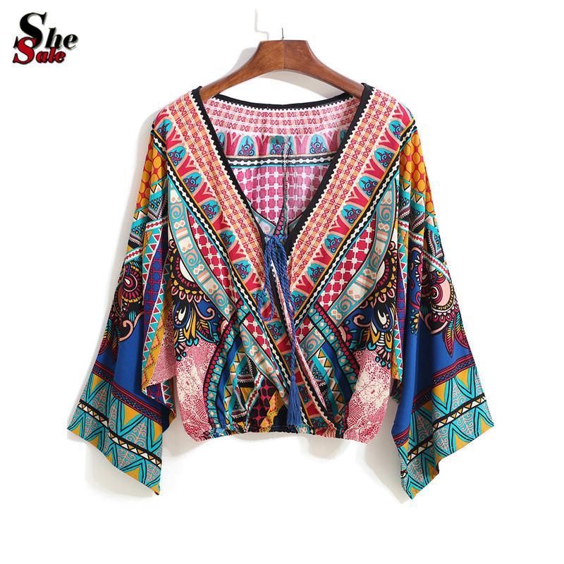 Mulheres blusas Cropped Tops 2016 étnico Multicolor decote em V com cordão Tribal padrão de impressão manga comprida blusa