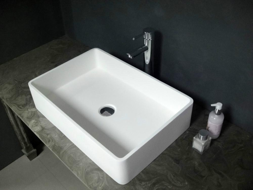 Bancada de superfície contínua de pedra moderna montada pia do banheiro B059  -> Pia De Banheiro Em Ingles