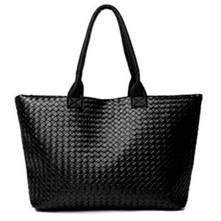 Clearance! black knitted women's leather handbags woven bags designers brand retro harajuku bolsas big bag women bag(China (Mainland))