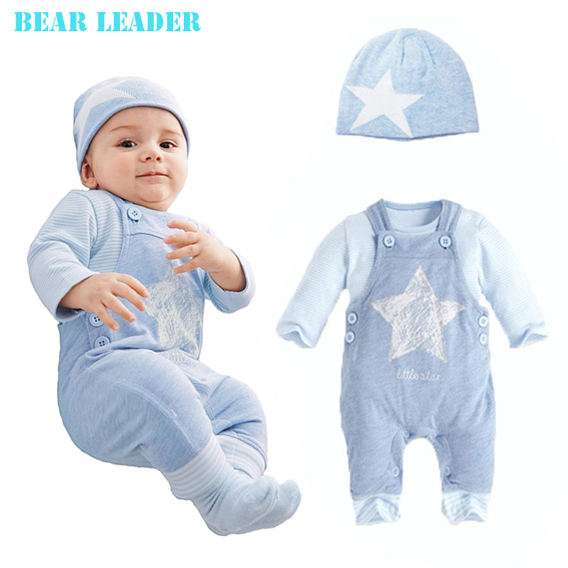 Bear Leader Baby Boy Clothing Set 2016 New Casual Baby Boy Clothes Cotton Stars (Hat + T-shirt+overalls)3pcs for Baby Rempers(China (Mainland))