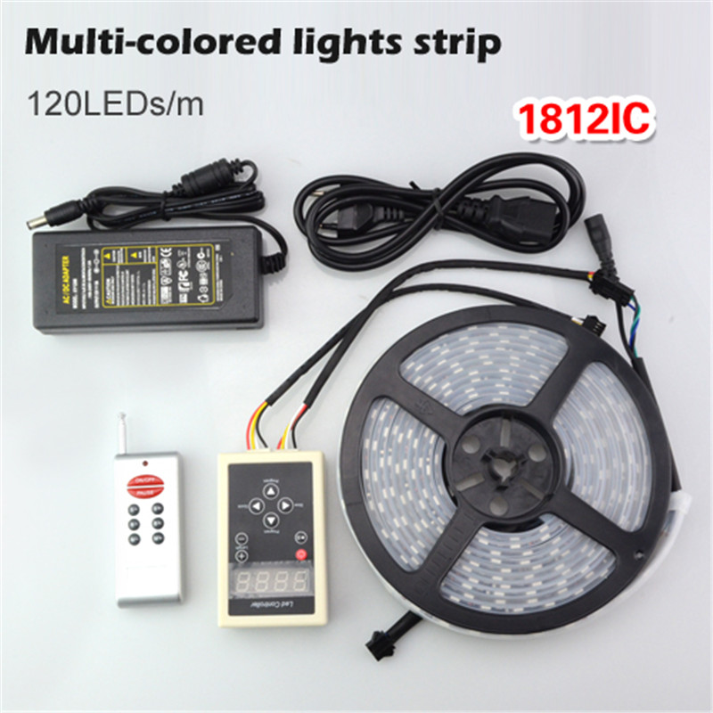 5M WS1812 IC Led strip Double Row tube Waterproof 600 Leds 5050 RGB flexible light dream magic color lamp + Controller 10A diver(China (Mainland))