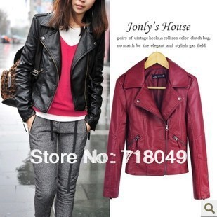Free Shipping 2013 New Winter Women Coat Short Zipper Motorcycle Leather Jacket Pu Leather Clothes XS/S/M/L/XL