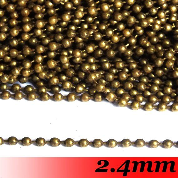 Free Ship! 2.4mm 100meter Antique bronze Best Qaulity Copper Material Jewelry Link Ball Chain Findings<br><br>Aliexpress