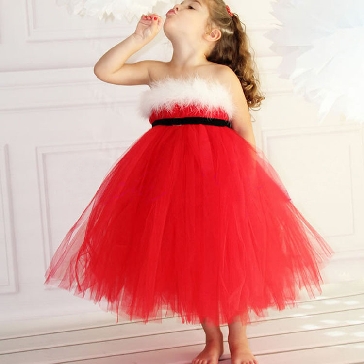 Red mesh christmas dress lace dresses for girls party dress with a