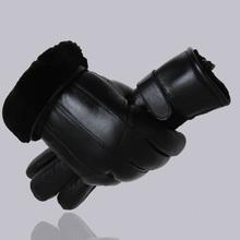 Hot Sale Men sheepskin gloves genuine leather glove for men winter Outdoor warm fur thickening thermal patchwork gloves(China (Mainland))