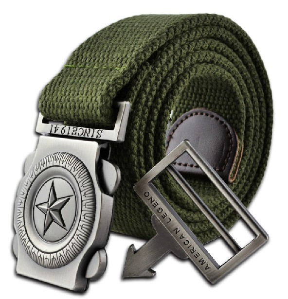 2016 western designer men fashion casual canvas belt high quality knitted Metal Buckle military outdoor belts for men army green(China (Mainland))