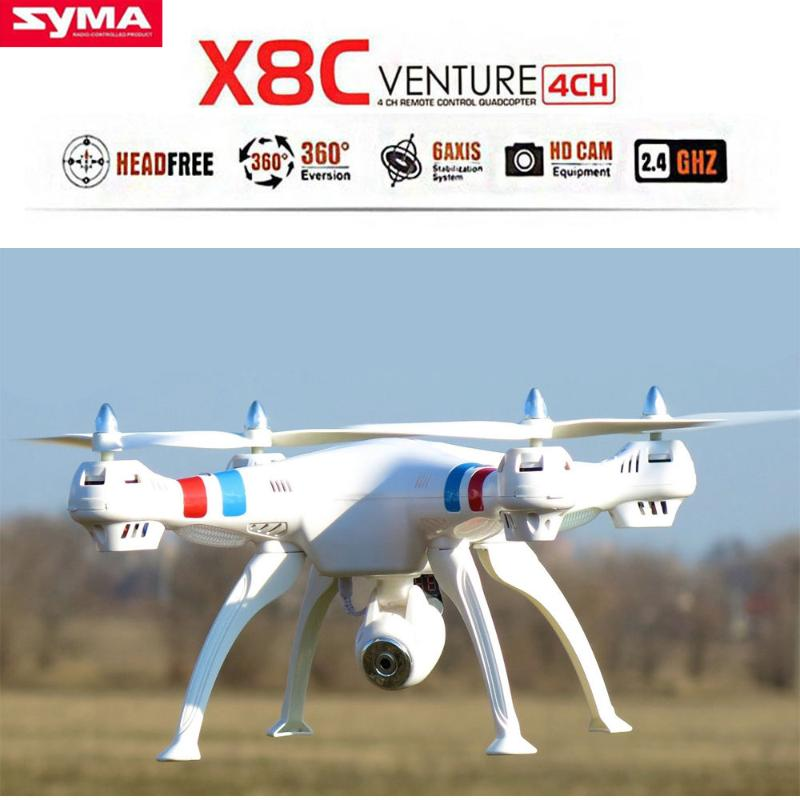 Syma X8C Venture Drone 2.4Ghz 6-Axis Gyro RC Quadcopter UAV RTF UFO with 2MP HD Camera 2000mAh Battery White