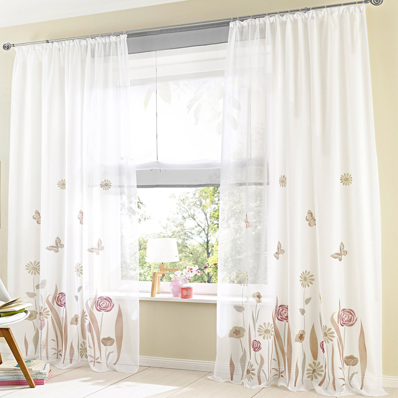 Simplife Woven Europe Style 40% Blackout Pleated Curtain, Polyester Hook Curtain Tab Top Living Room Drape Floral Pattern CL026(China (Mainland))