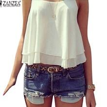 ZANZEA 2016 Summer New Women Strap Tank Tops Sleeveless White Chiffon Casual T-shirt Vest Crop Tops Camis S M L XL 2XL 3XL 4XL(China (Mainland))