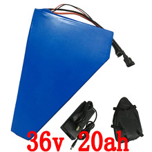 More Discount 1000W 36V Triangle battery 36V 20AH Electric Bike lithium ion battery pack with PVC case 30A BMS 42V 2A charger(China (Mainland))