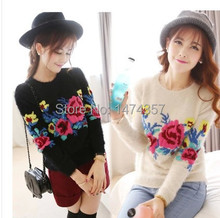 2015 Autumn new Korean Women roses loose knit sweater hedging sweater hippocampus sweaters004(China (Mainland))